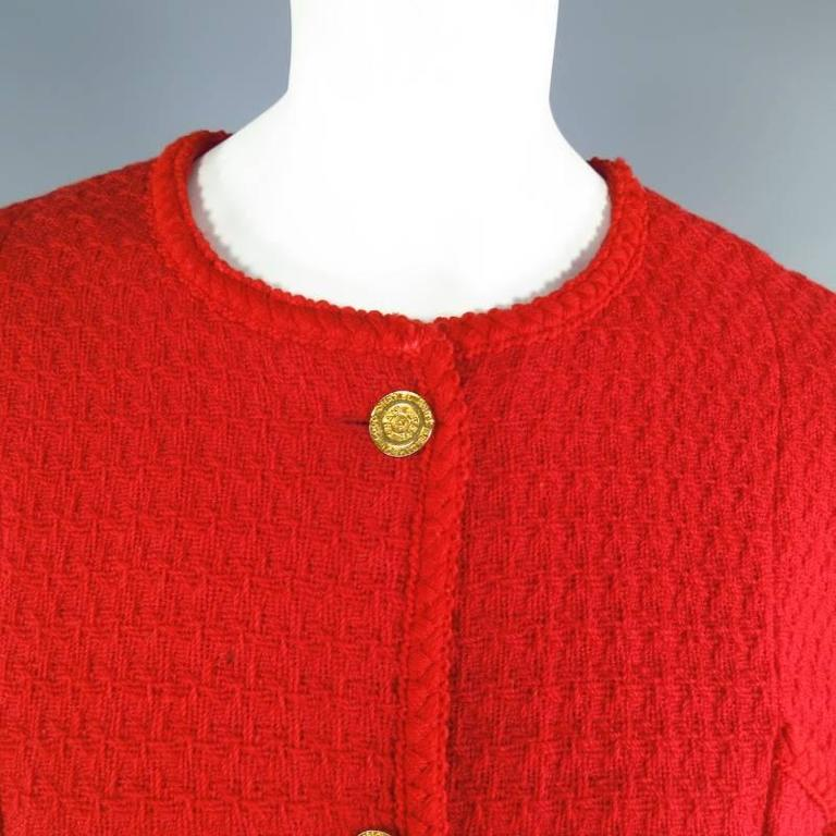 Vintage 1980s 1990s CHANEL Size M Red Wool Tweed Gold Button Hourglass Jacket 2