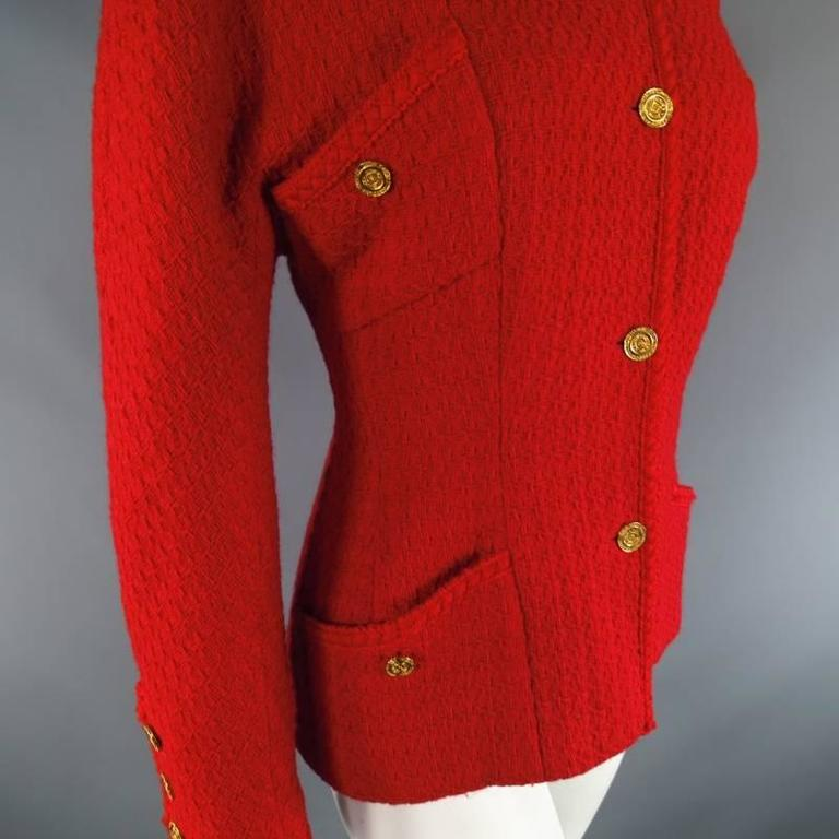 Vintage 1980s 1990s CHANEL Size M Red Wool Tweed Gold Button Hourglass Jacket 8