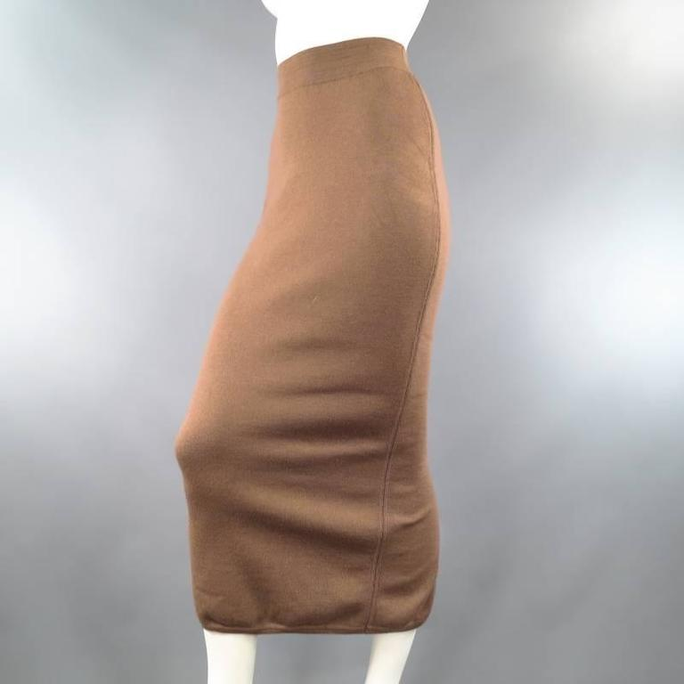 ALAIA Size S Light Taupe Brown Wool Blend Body Midi Fishtail Pencil Skir For Sale 2