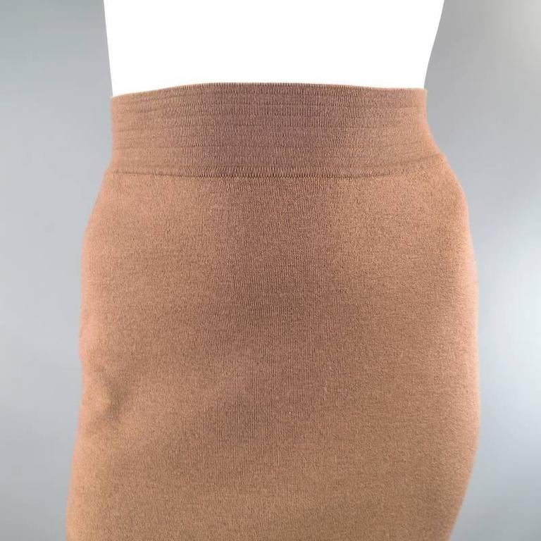 ALAIA Size S Light Taupe Brown Wool Blend Body Midi Fishtail Pencil Skir For Sale 3