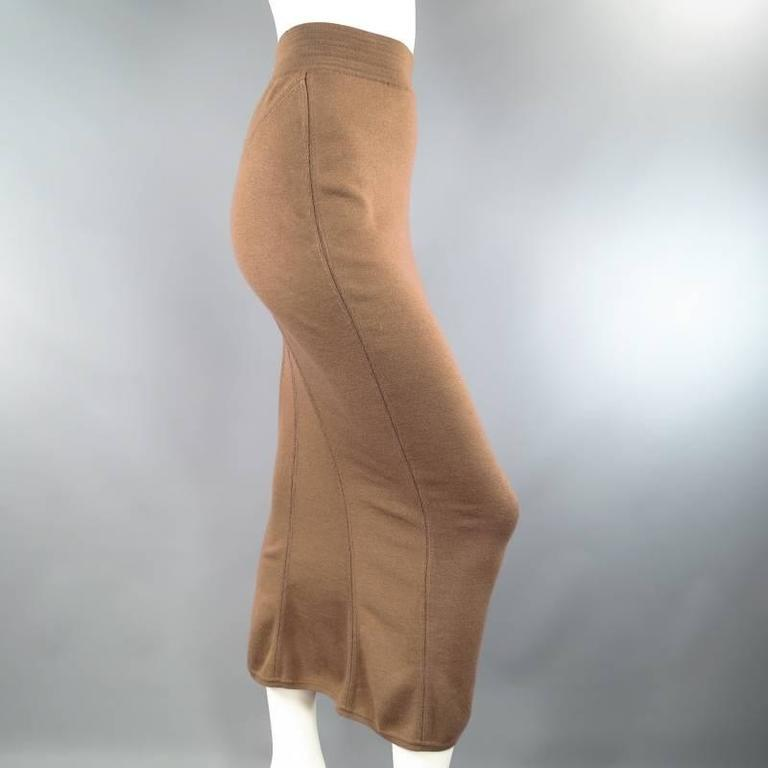 ALAIA Size S Light Taupe Brown Wool Blend Body Midi Fishtail Pencil Skir 5