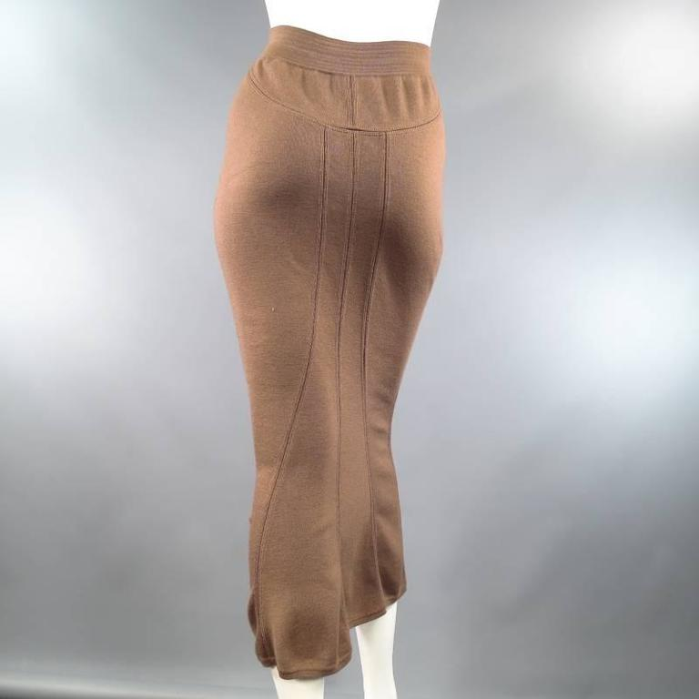 Women's ALAIA Size S Light Taupe Brown Wool Blend Body Midi Fishtail Pencil Skir For Sale