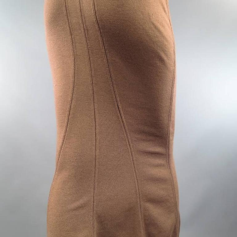 ALAIA Size S Light Taupe Brown Wool Blend Body Midi Fishtail Pencil Skir 3