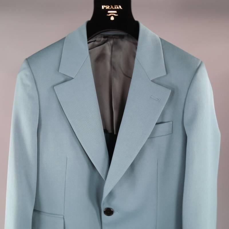 Prada Men S 36 Regular Light Teal Blue Wool Notch Lapel
