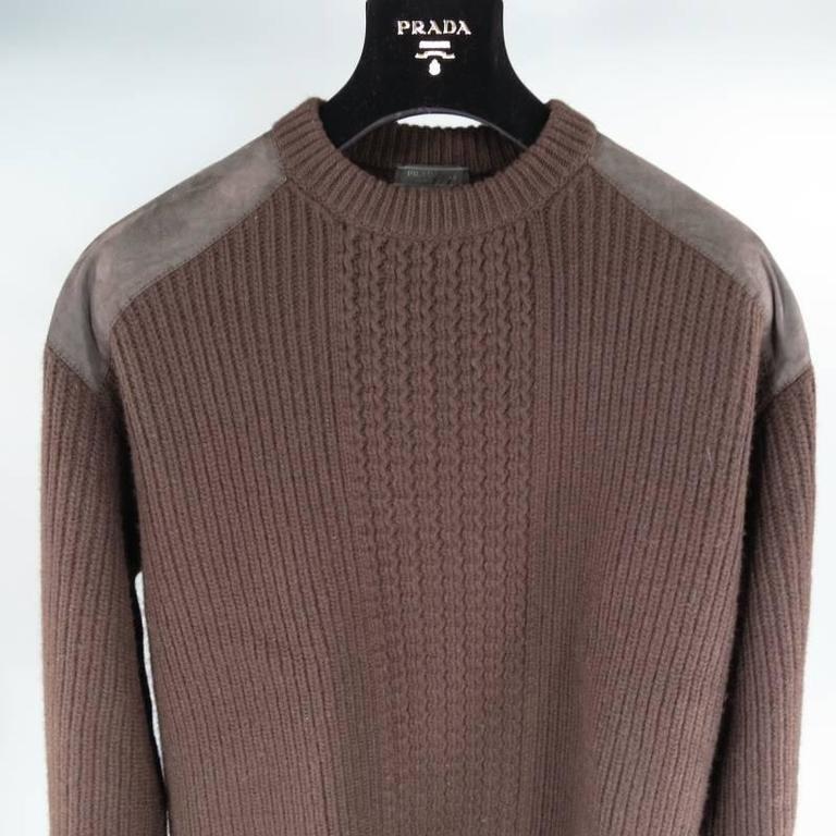 Black Prada Brown Wool Suede Shoulder Sweater, Size S  For Sale