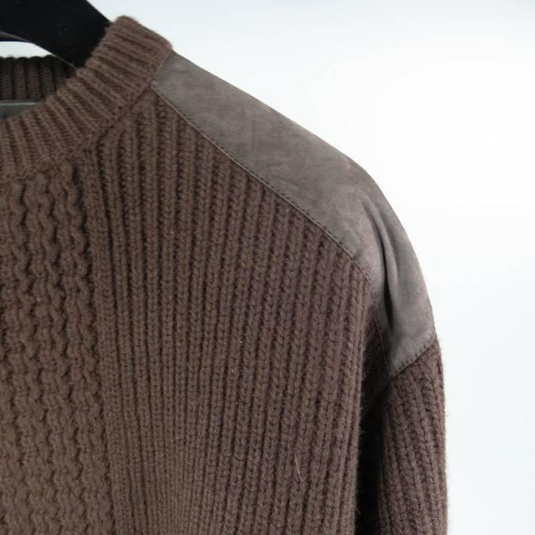 Prada Brown Wool Suede Shoulder Sweater, Size S  In Good Condition For Sale In San Francisco, CA