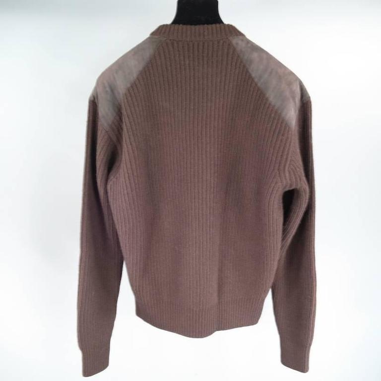 Men's Prada Brown Wool Suede Shoulder Sweater, Size S  For Sale