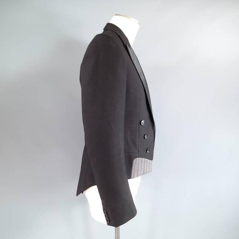 DIOR HOMME by HEDI SLIMANE 38 Short Black Wool Tuxedo 6 Button Coat Tail Jacket For Sale 1