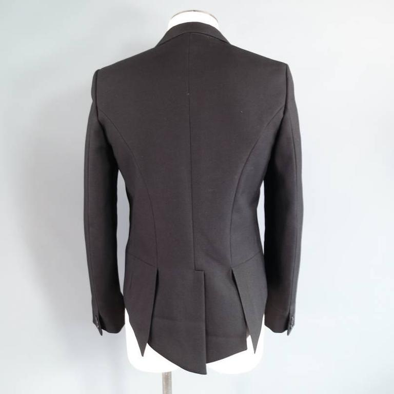 DIOR HOMME by HEDI SLIMANE 38 Short Black Wool Tuxedo 6 Button Coat Tail Jacket For Sale 2