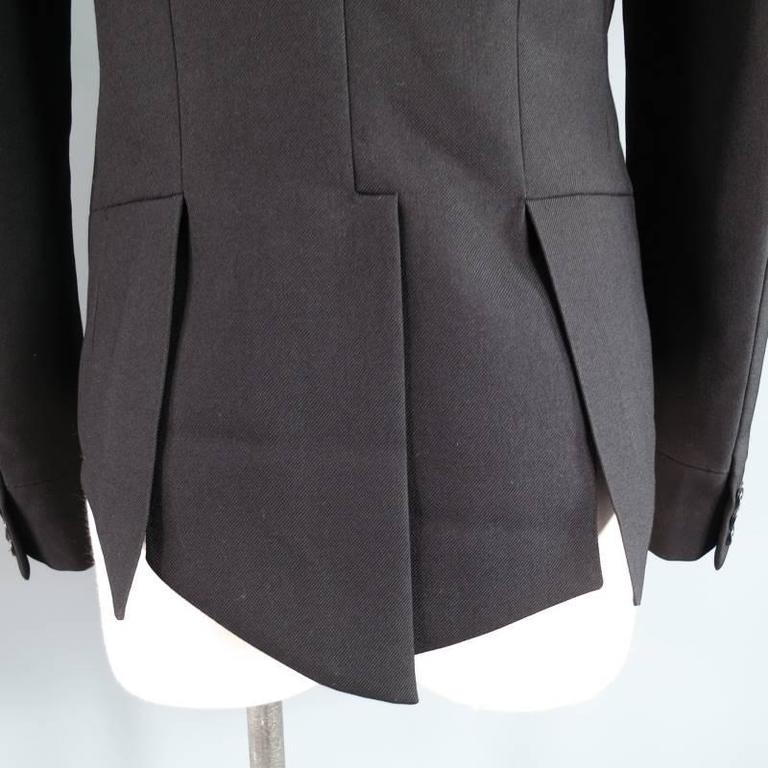 DIOR HOMME by HEDI SLIMANE 38 Short Black Wool Tuxedo 6 Button Coat Tail Jacket For Sale 3