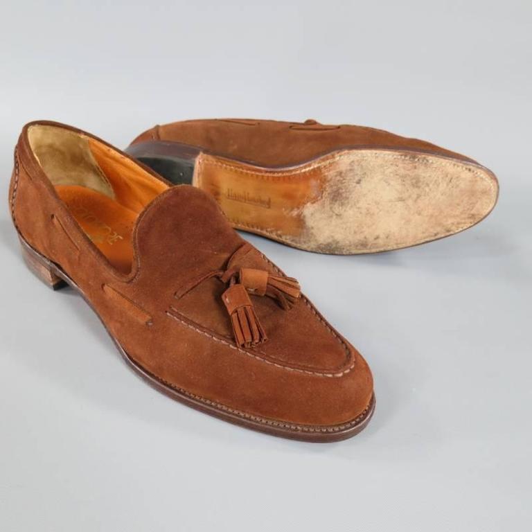 6844eccab3970 Vintage RALPH LAUREN Size 10 Brown Suede Tassel Loafers
