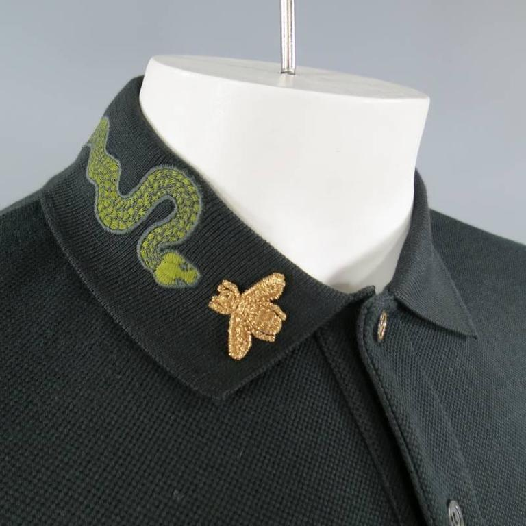 Gucci Size S Black Pique Green Snake And Gold Bee Applique Collar