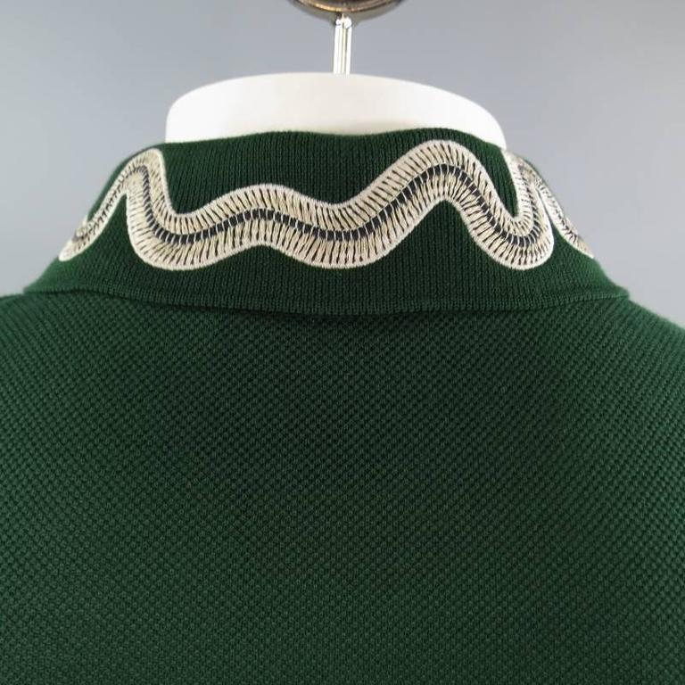 e335c5a67 GUCCI Size S Mens Green Pique Snake   Gold Fly Applique Collar POLO For Sale  3