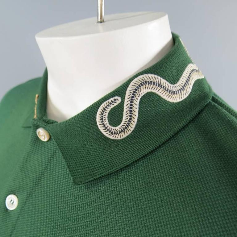 Gucci Size S Mens Green Pique Snake And Gold Fly Applique