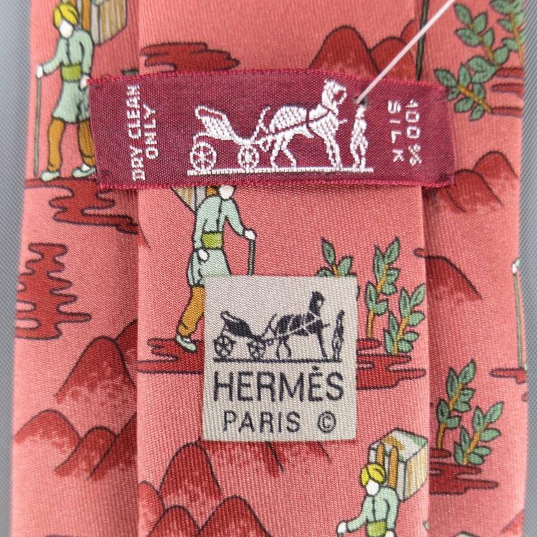 Hermes Red Vagabond And Magic Carpet Silk Tie Set At 1stdibs