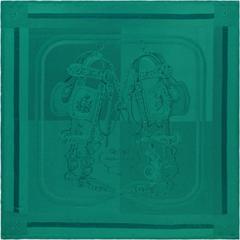 HERMES Abyss Green Silk Jacquard Foulard Brides de Gala Scarf