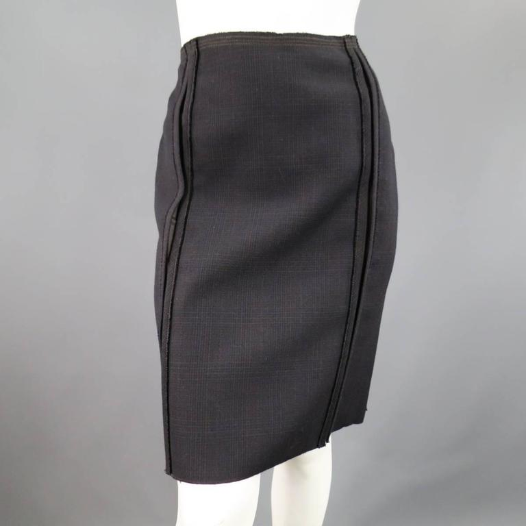 PRADA Size 10 Brown & Navy Plaid Wool High Neckline 60's Style Skirt Suit For Sale 2