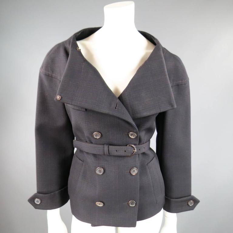 PRADA Size 10 Brown & Navy Plaid Wool High Neckline 60's Style Skirt Suit 3