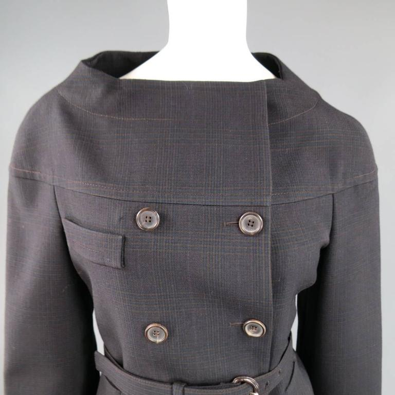 PRADA Size 10 Brown & Navy Plaid Wool High Neckline 60's Style Skirt Suit In Excellent Condition For Sale In San Francisco, CA