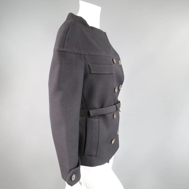 PRADA Size 10 Brown & Navy Plaid Wool High Neckline 60's Style Skirt Suit For Sale 1