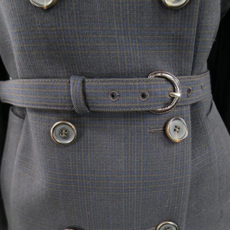 PRADA Size 10 Brown & Navy Plaid Wool High Neckline 60's Style Skirt Suit 5
