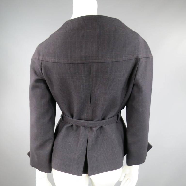 PRADA Size 10 Brown & Navy Plaid Wool High Neckline 60's Style Skirt Suit For Sale 4