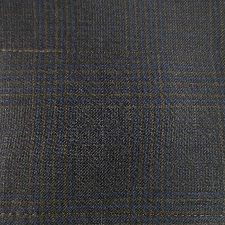 PRADA Size 10 Brown & Navy Plaid Wool High Neckline 60's Style Skirt Suit For Sale 3