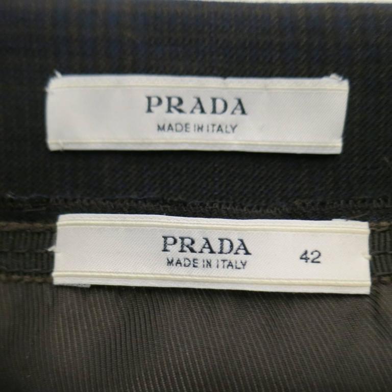 PRADA Size 10 Brown & Navy Plaid Wool High Neckline 60's Style Skirt Suit 10