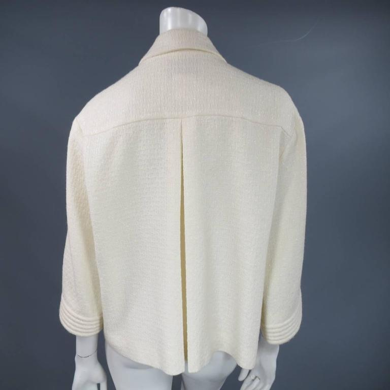 CHANEL Size 8 Off White Sparkle Wool / Nylon Crystal Pocket Open Front Jacket 8