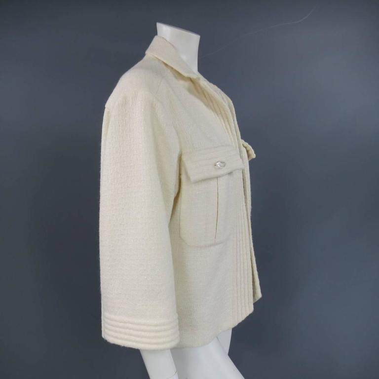 CHANEL Size 8 Off White Sparkle Wool / Nylon Crystal Pocket Open Front Jacket 5