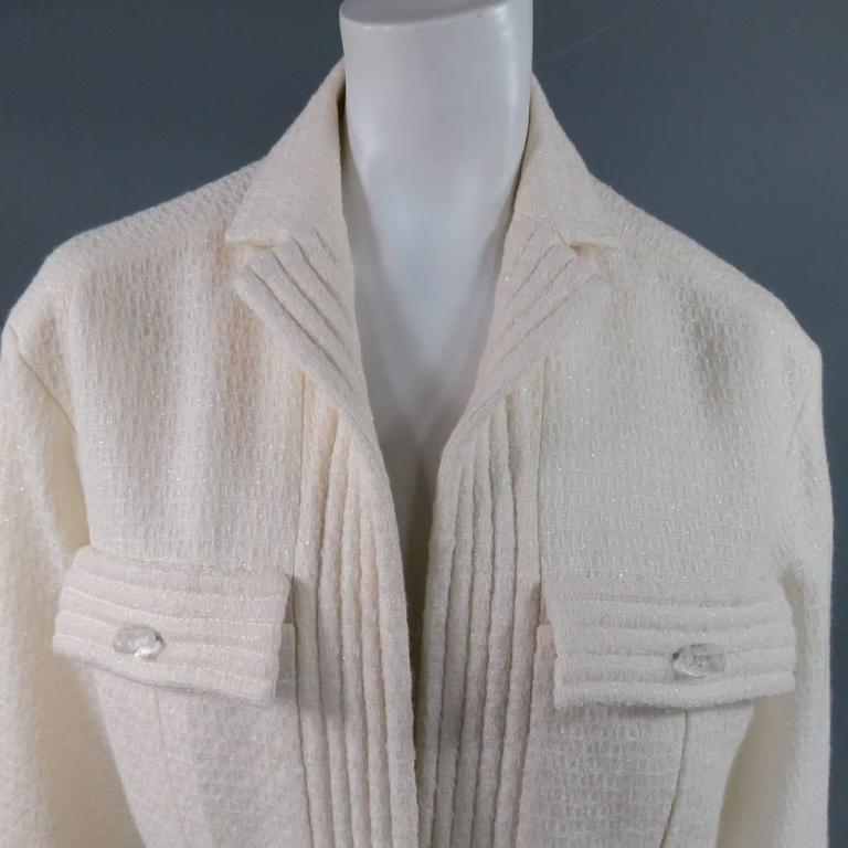 CHANEL Size 8 Off White Sparkle Wool / Nylon Crystal Pocket Open Front Jacket 2