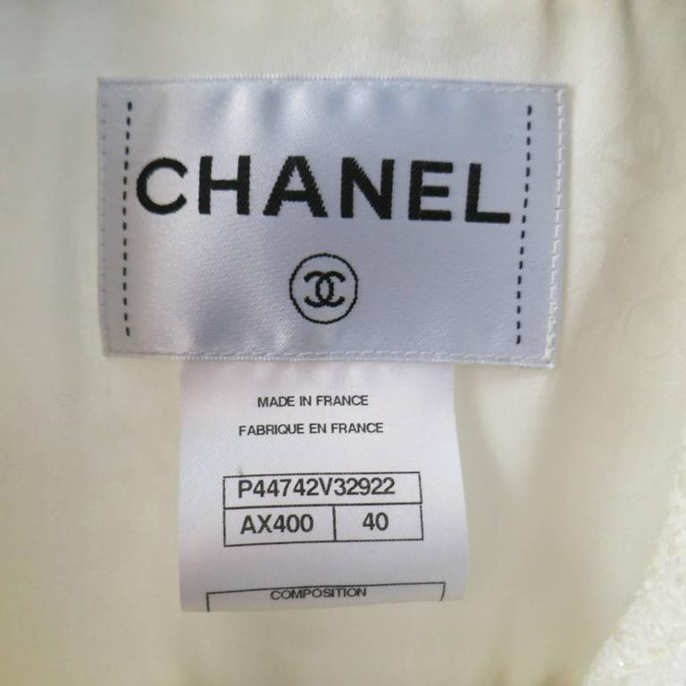 CHANEL Size 8 Off White Sparkle Wool / Nylon Crystal Pocket Open Front Jacket 10