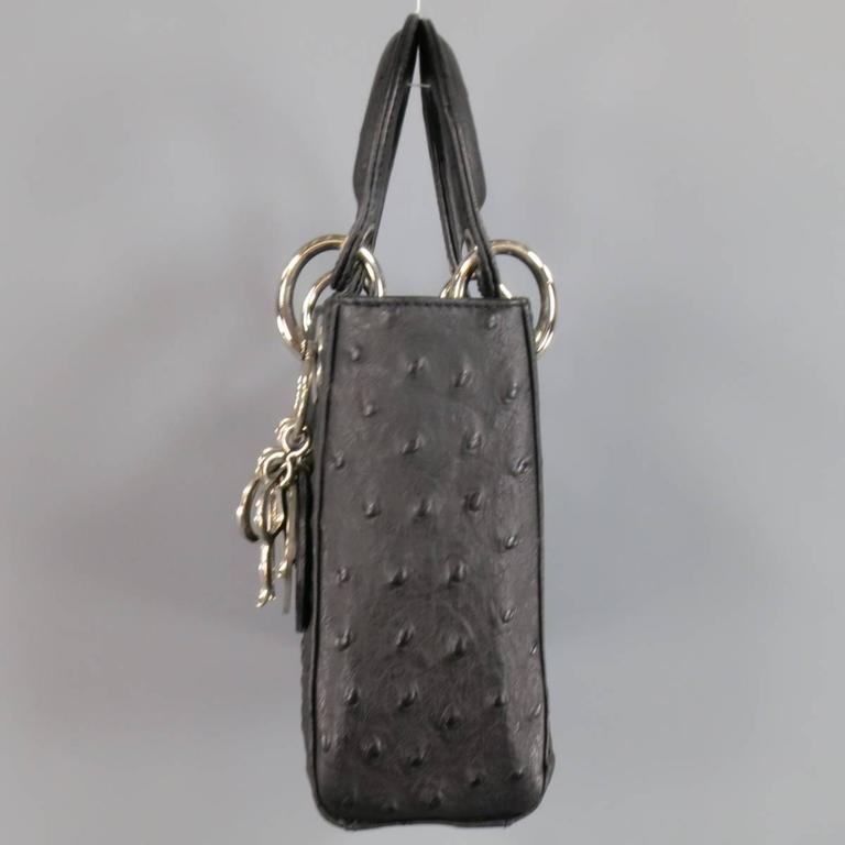 afbcb673327 CHRISTIAN DIOR Black Ostrich leather Mini Lady Dior Shoulder Strap Bag In  Excellent Condition For Sale