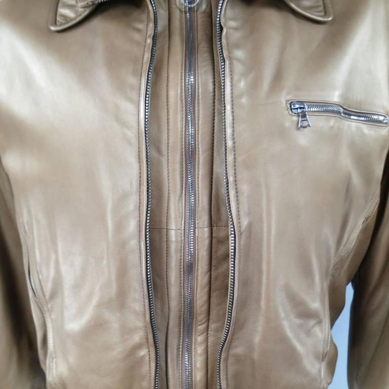 Men S Seraphin 40 Light Brown Leather Beige Shearling Collar Bomber
