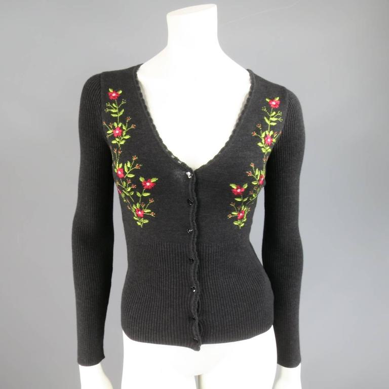 MOSCHINO Cheap & Chic Size 6 Charcoal Wool Floral Embroidered Cardigan Set 7