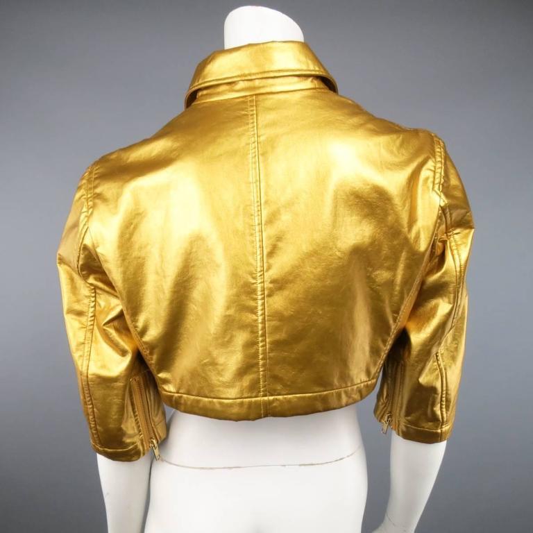 COMME des GARCONS Size M Metallic Gold Cropped Biker Jacket 2007 6