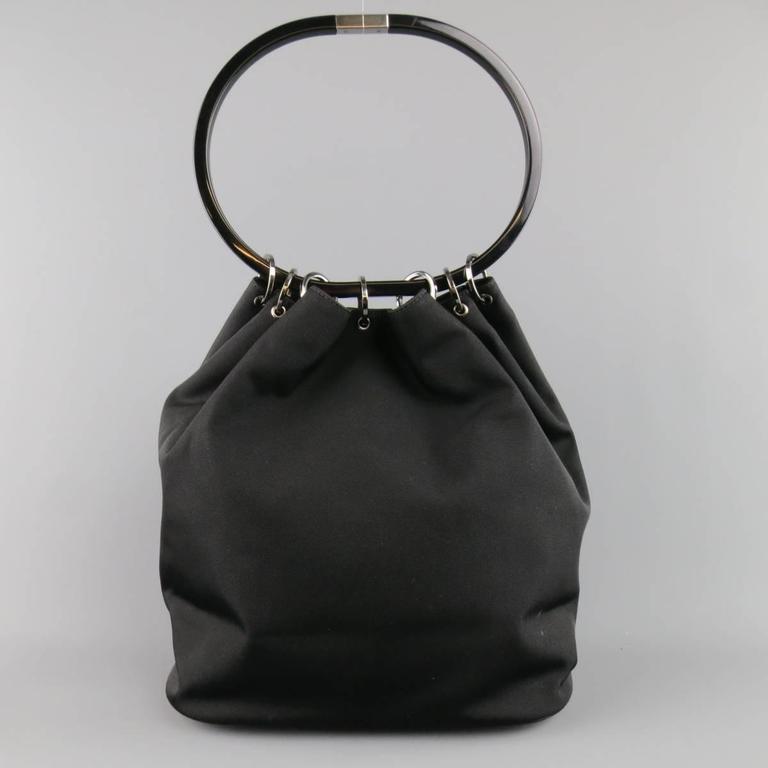 GUCCI Black Nylon Canvas Lucite Oval Hangle Bucket Bag For Sale 1