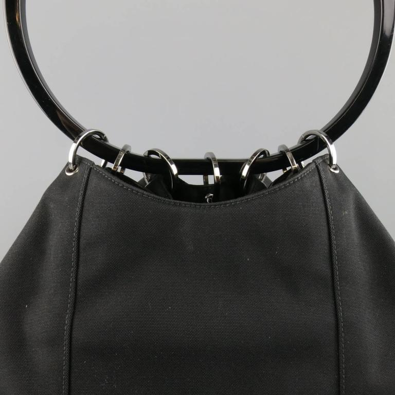 GUCCI Black Nylon Canvas Lucite Oval Hangle Bucket Bag In Good Condition For Sale In San Francisco, CA