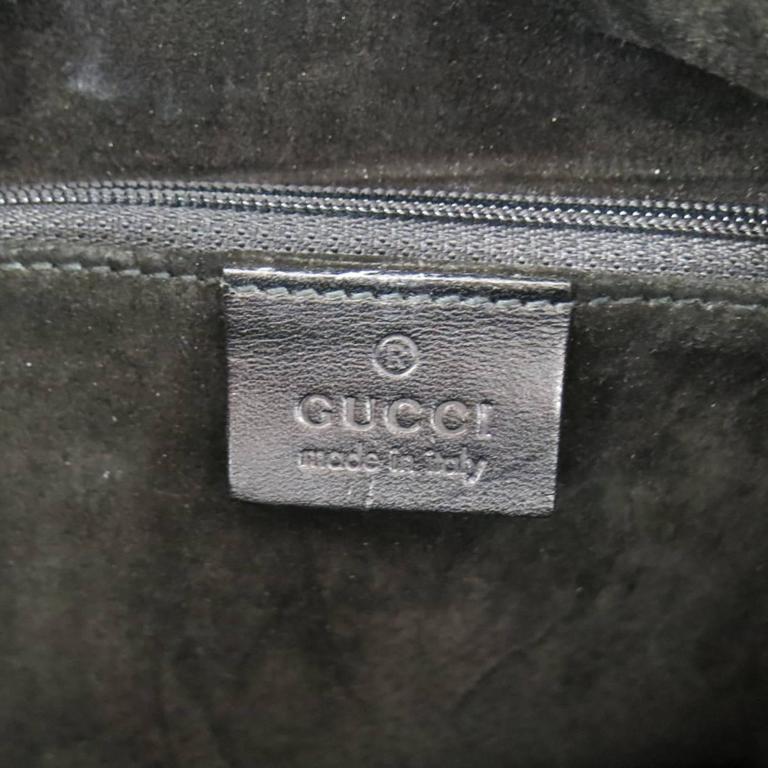 GUCCI Black Nylon Canvas Lucite Oval Hangle Bucket Bag For Sale 4