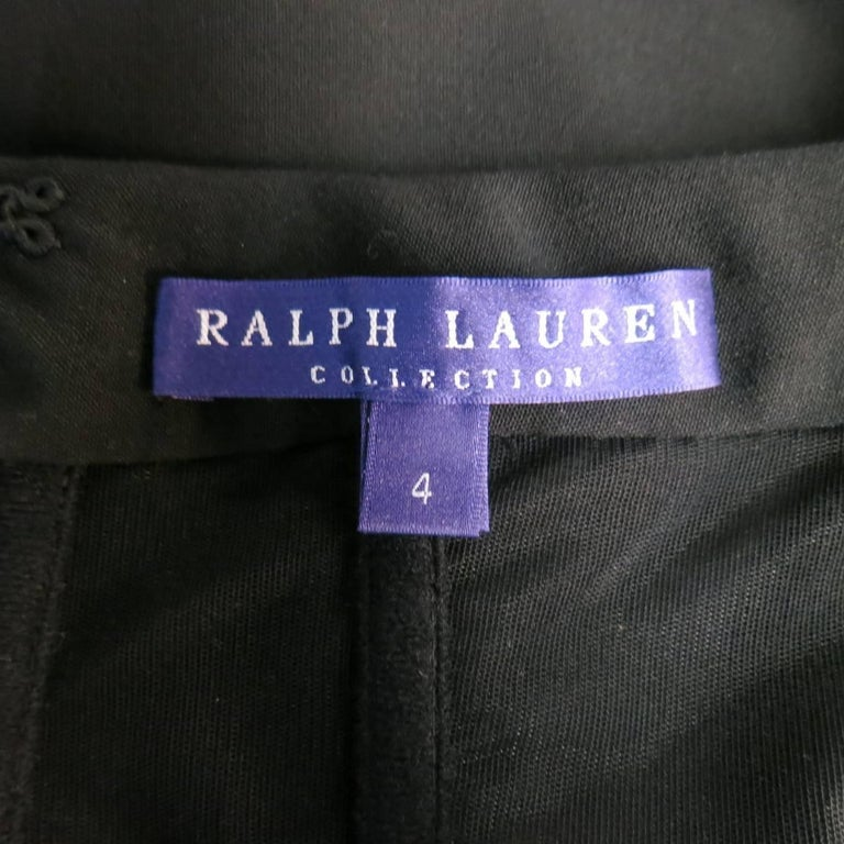 Ralph Lauren Black Wool Leather Sleeve Megan Gown / Dress, Collection 2012  For Sale 3