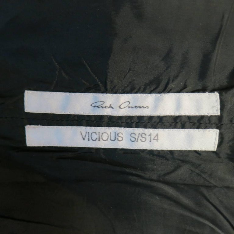 Men's RICK OWENS Size M Black Leather Lace Up Zip Tank Top Vest 7