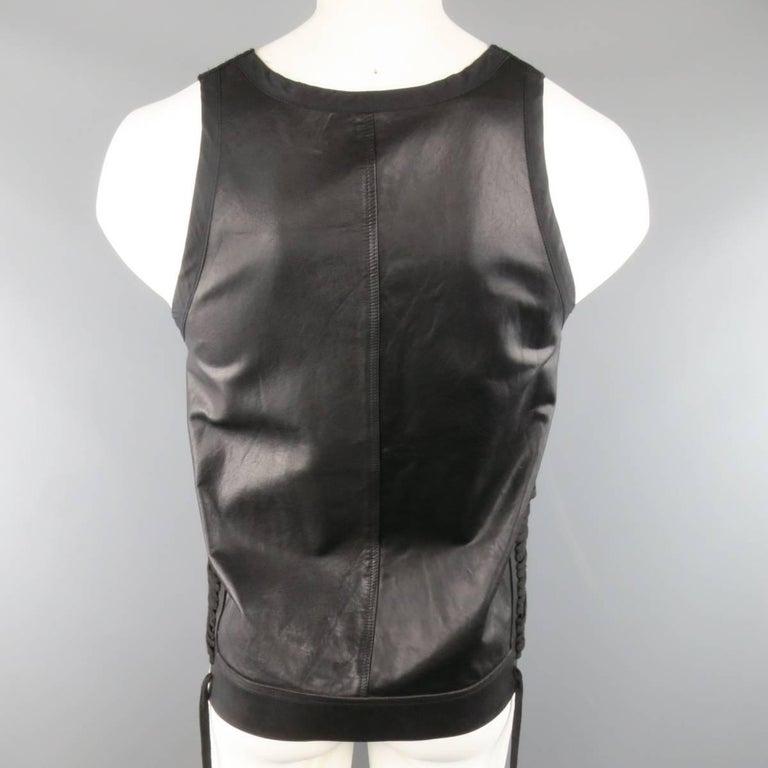 Men's RICK OWENS Size M Black Leather Lace Up Zip Tank Top Vest 6