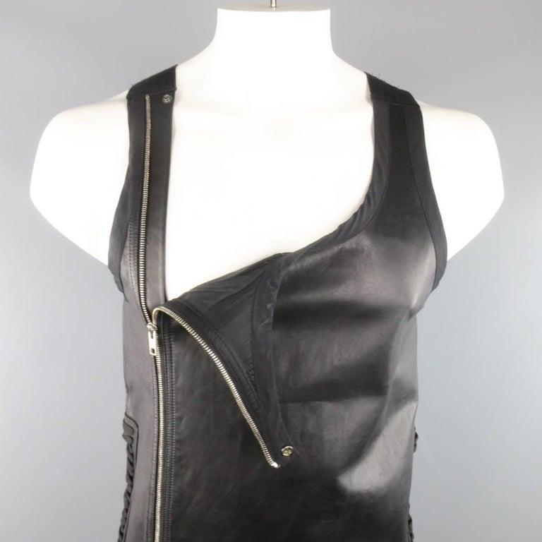 Men's RICK OWENS Size M Black Leather Lace Up Zip Tank Top Vest 3