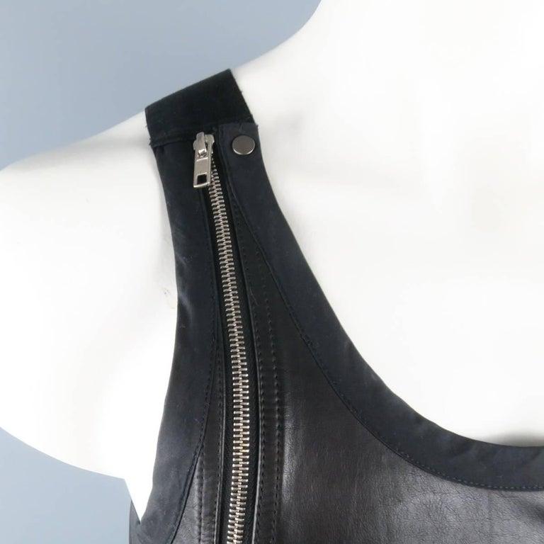 Men's RICK OWENS Size M Black Leather Lace Up Zip Tank Top Vest 2