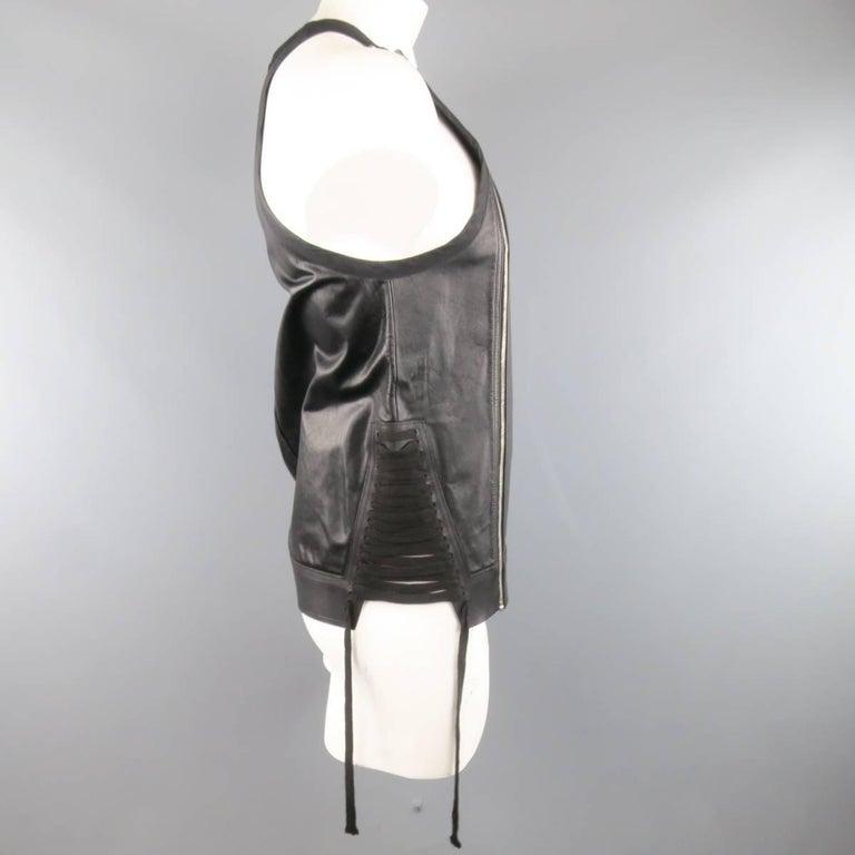 Men's RICK OWENS Size M Black Leather Lace Up Zip Tank Top Vest 4