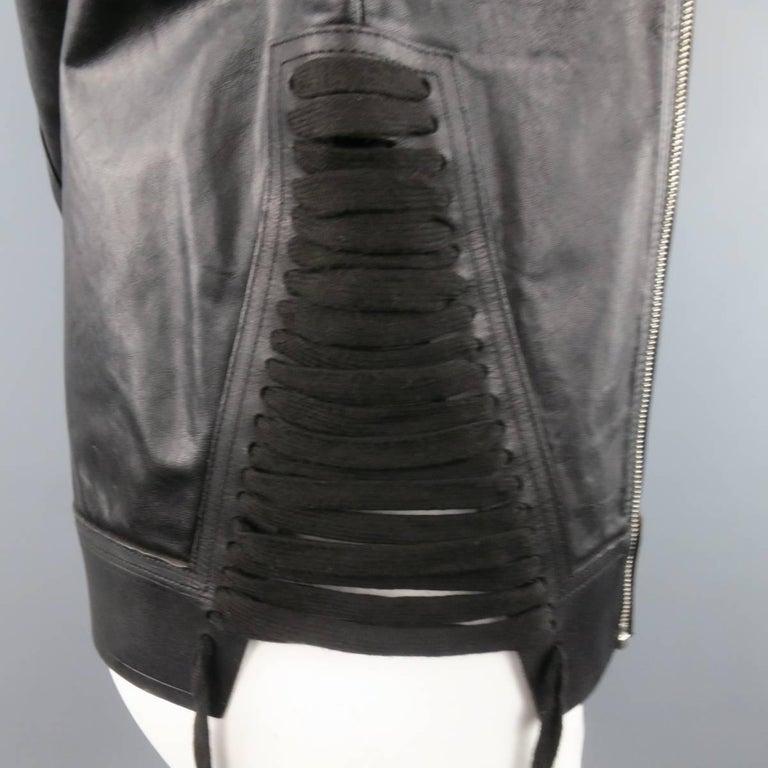 Men's RICK OWENS Size M Black Leather Lace Up Zip Tank Top Vest 5