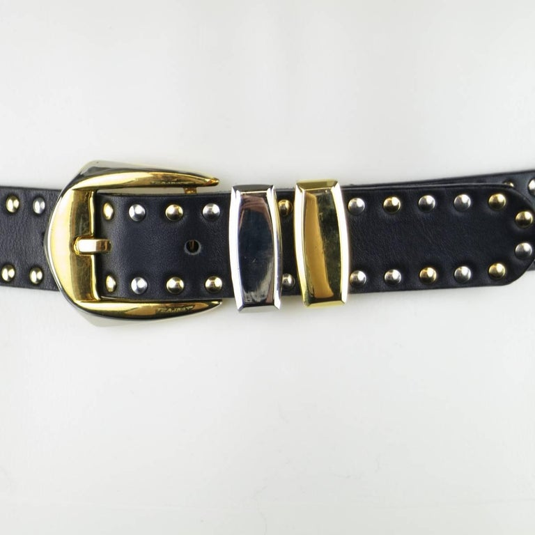 GIANNI VERSACE Size 30 Black Gold & Silver Medusa Studded Leather Belt In Excellent Condition For Sale In San Francisco, CA