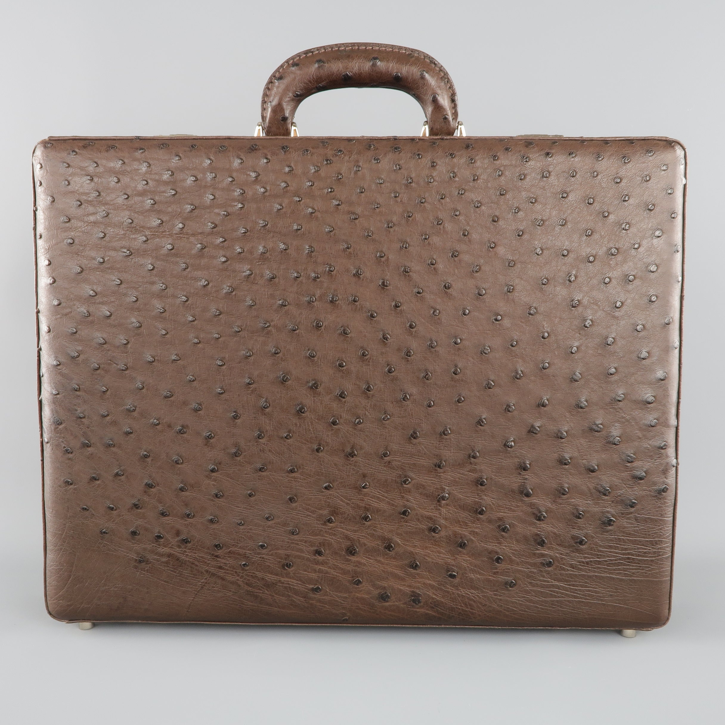 a5aaf744dc Cole Haan Briefcase - Large Brown Ostrich Leather Silver Lock Bag For Sale  at 1stdibs