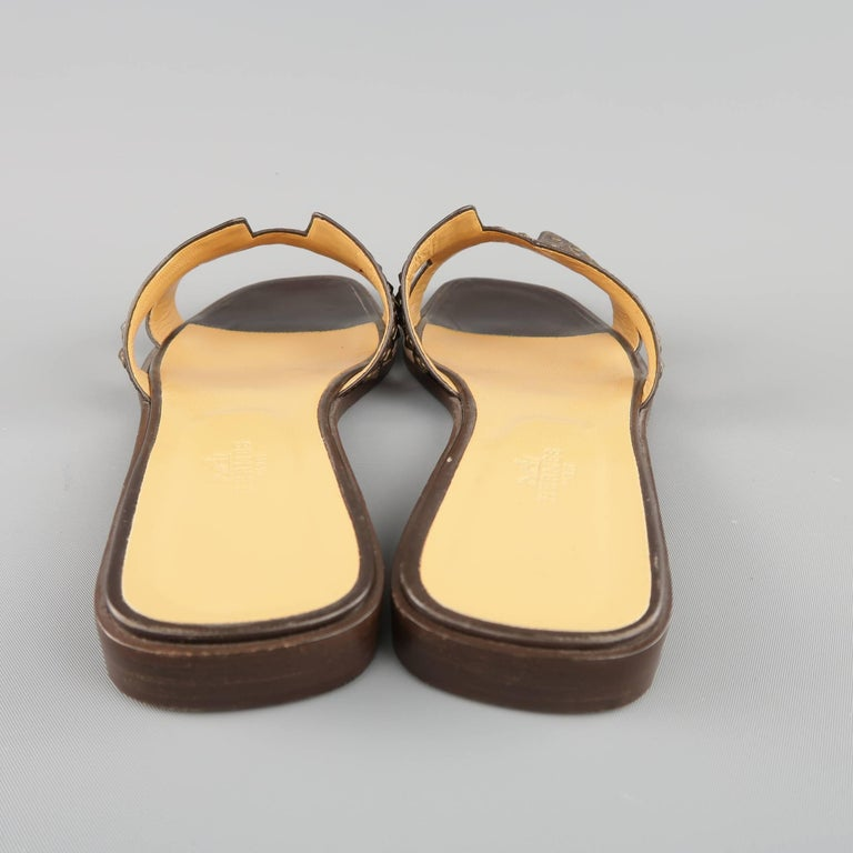 HERMES Size 10 Brown Studded Leather ORAN H Flat Strap Sandals 7