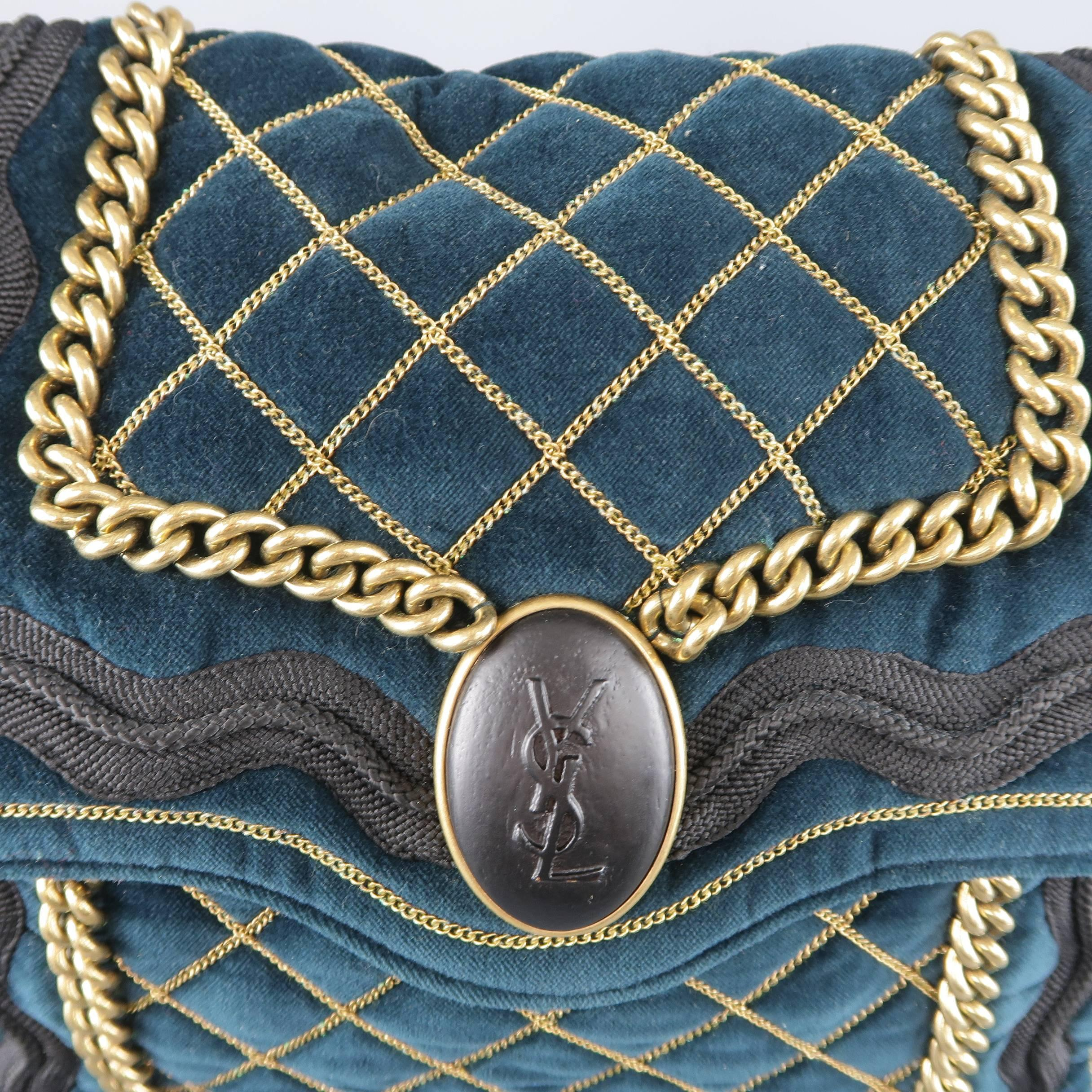 99a298ebd8 Yves Saint Laurent Green and Gold Chain Quilted Velvet Sac Luxembourg Bag  at 1stdibs